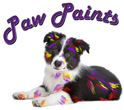 PawPaints dot net logo border collie puppy covered in paint